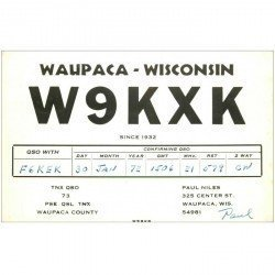 carte postale ancienne CARTE RADIO QSL. Wisconsin 1972