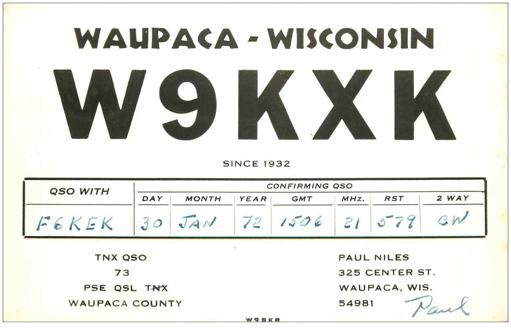 carte postale ancienne CARTE RADIO QSL. Wisconsin 1972