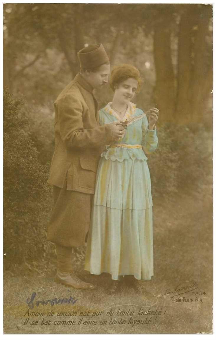 carte postale ancienne COUPLE. Jeunes Amoureux avec Zouave 1917