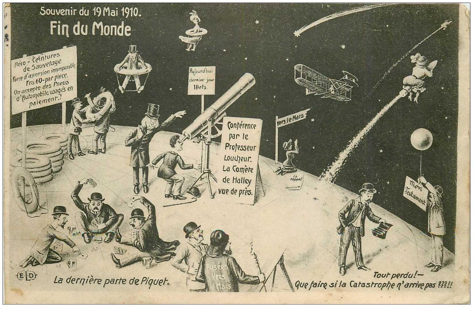 carte postale ancienne EVENEMENTS ET CATASTROPHES. La Fin du Monde en 1910. Carte suréaliste sur la Comète Halley 1910