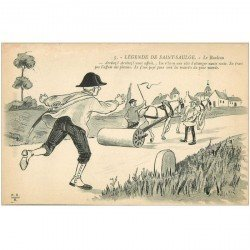carte postale ancienne FOLKLORE. Campagnes et Provinces. Le Rouleau compresseur légende de Saint Saulge
