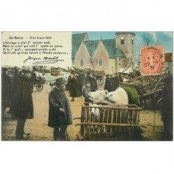 carte postale ancienne FOLKLORE. Campagnes et Provinces. Une brave bête au Marché 1931 par Martel