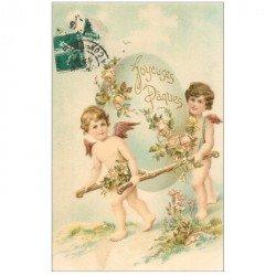 carte postale ancienne FANTAISIE. Angelots Joyeuses Pques carte gaufrée