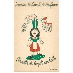 carte postale ancienne Semaine Nationale de l'Enfance. Perette et Pot au lait