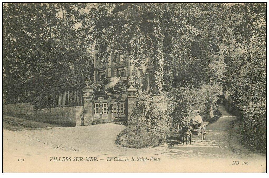 carte postale ancienne 14 VILLERS-SUR-MER. Attelage Chemin de Saint-Waast
