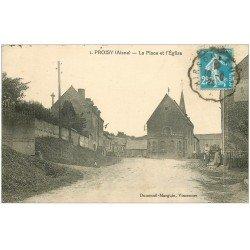 carte postale ancienne 02 PROISY. Place et Eglise 1925