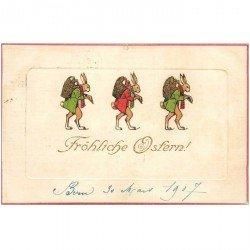 carte postale ancienne LAPINS. Fröhliche Osfern 1907. Carte gaufrée toilée