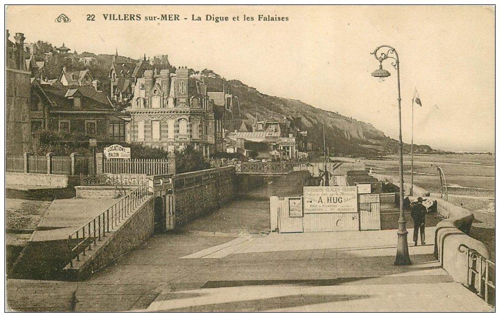 carte postale ancienne 14 VILLERS-SUR-MER. Digue et Falaises 22