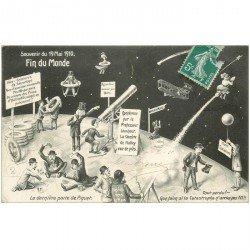 carte postale ancienne ASTRONOMIE. La Fin du Monde en 1910 carte catastrophe ironique et satirique . Comète de Haley