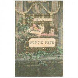carte postale ancienne ENFANTS. Bonne Fête dans une panière 1904