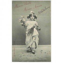 carte postale ancienne ENFANTS. Bonne Santé et Bonne Année Madeleine 1905