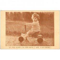 carte postale ancienne ENFANTS. Fillette et tricycle. Publicité La Samaritaine