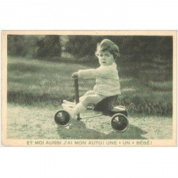 carte postale ancienne ENFANTS. Fillette et tricycle. Publicité La Samaritaine Paris