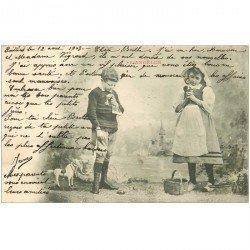 carte postale ancienne ENFANTS. L'Angélus 1903