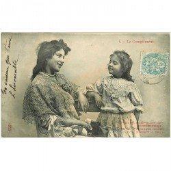 carte postale ancienne ENFANTS. Le Compliment 1904 ou Complimensonge...