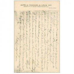 carte postale ancienne Famille Royale. Acte de Mariage de Louis XIV. Archives Mairie Saint-Jean-de-Luz carte postale