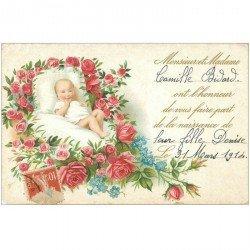carte postale ancienne ENFANTS. Annonce de naissance du Bébé Camille Bidart en 1914