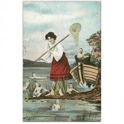 carte postale ancienne ENFANTS. Bébés à la Pêche 1906