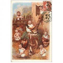 carte postale ancienne ENFANTS. Bébés dans la Ferme 1909 coqs et boudalous