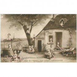 carte postale ancienne ENFANTS. Bébés dans la Ferme 1915 choisissez