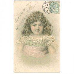 carte postale ancienne ENFANTS. Jeune fille avec une superbe chevelure 1905