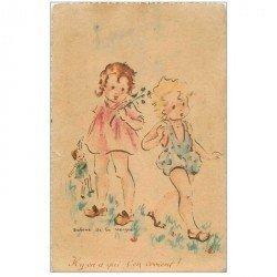carte postale ancienne ENFANTS. Jeunes filles avec poupée chiffon