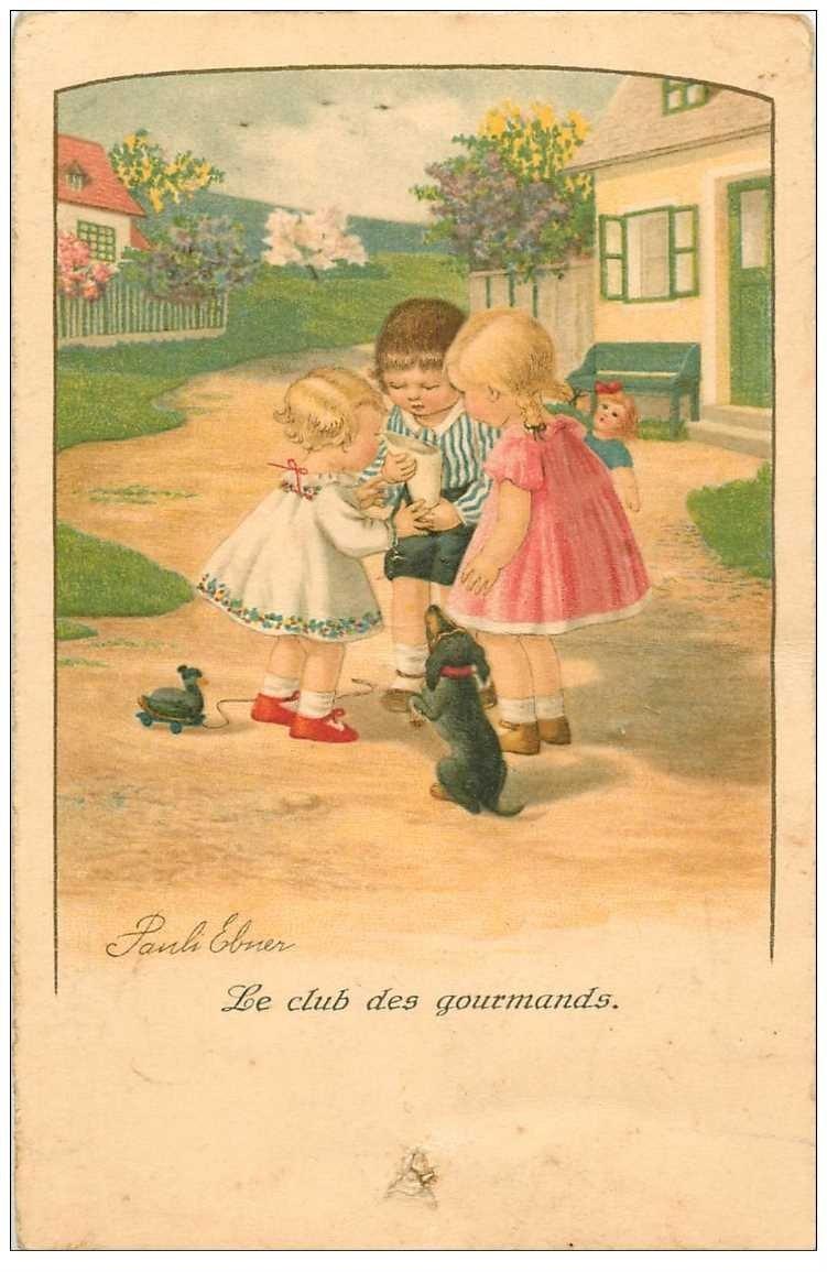 carte postale ancienne ENFANTS. Le Club des Gourmands par Pauli Elner