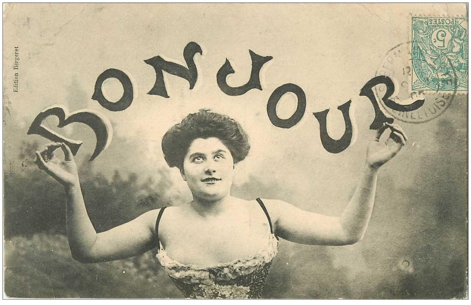 carte postale ancienne FEMMES. Bonjour 1905 par Bergeret