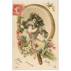 carte postale ancienne FEMMES. Dans la glace 1908 Amitié de Julienne