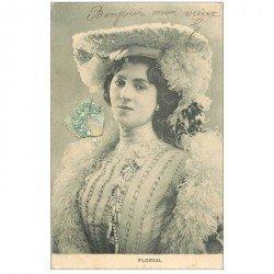 carte postale ancienne FEMMES. Florval artiste de Thétre 1904 chapeau de plumes