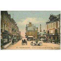 carte postale ancienne 14 VILLERS-SUR-MER. Place du Bourg Rue de la Mer. Voiture ancienne décapotable