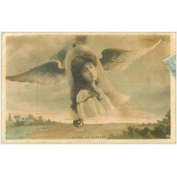carte postale ancienne FEMMES. Voyage de Cloches ange par Reutlinger 1906