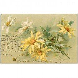 carte postale ancienne FLEURS. Bouquet de Marguerites pour Saumur 1902