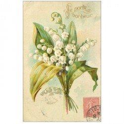 carte postale ancienne FLEURS. Bouquet de Muguet pour Boulogne 1906