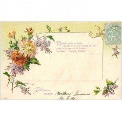 carte postale ancienne FLEURS. Bouquet de Pivoines et texte de Lenoble verrs 1905