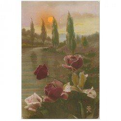 carte postale ancienne FLEURS. Bouquet de Roses 1917 pour Millau