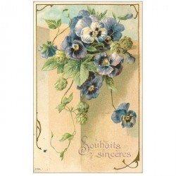 carte postale ancienne FLEURS. Bouquet de Violettes pour Boulogne 1907