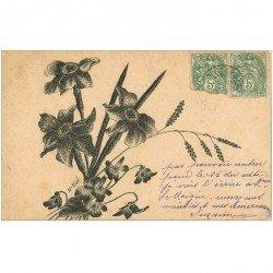 carte postale ancienne FLEURS. Bouquet par H. Noël 1907 de Saint Léonard pour Paris