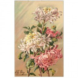 carte postale ancienne FLEURS. Illustrateur Lily Giry carte toilée n° 94 Mme Gustave Henry et Mme Albert Suzanne