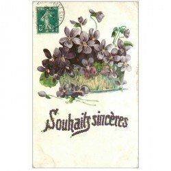 carte postale ancienne FLEURS. Jardinière de Violettes pour Boulogne 1909