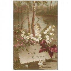 carte postale ancienne FLEURS. Muguet Porte Bonheur
