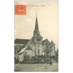 carte postale ancienne 02 SAINT-ERME. L'Eglise 1932 animation