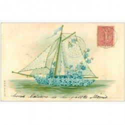 carte postale ancienne FLEURS. Superbe bateau fait de Fleurs 1904 finement gauffrée