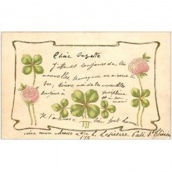 carte postale ancienne FLEURS. Trèfles à quatre feuilles pour Paris 1904