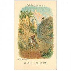 carte postale ancienne FABLES DE LA FONTAINE. Le Lion et le Moucheron d'après Gustave Doré