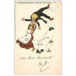 carte postale ancienne Carte humoristique 1904. L'émancipation de la Femme... Edition Marcovici