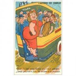 carte postale ancienne Carte Postale Humoristique. L'Autobus est complet... Quoi c'est mes fesses qui vous gênent !...