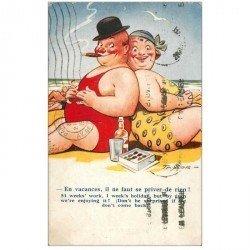 carte postale ancienne HUMOUR. A la Plage cigares, chocolats et boisson 1937par Taylor
