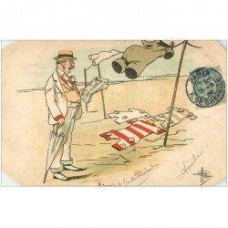carte postale ancienne HUMOUR. A la Plage par Guillaume 1905. Coins biseautés...