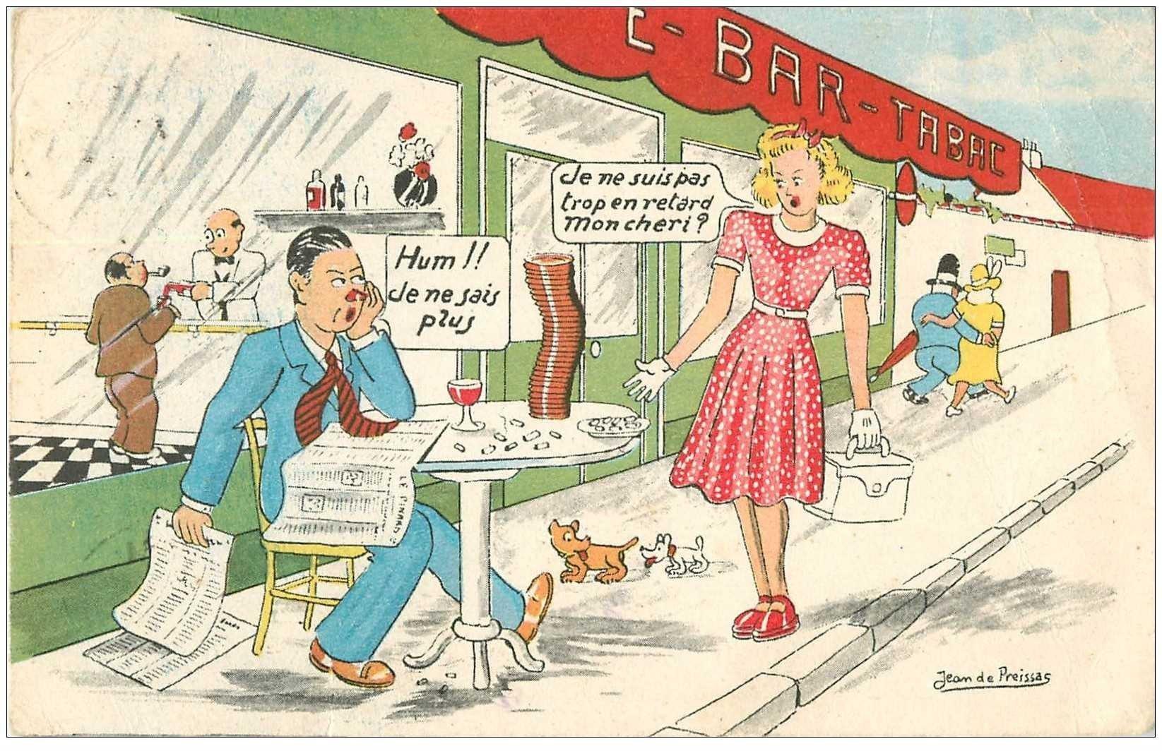 HUMOUR. Femme en retard et Homme saoul par Preissac 1948